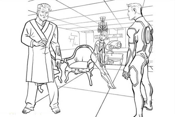 Tron, : Tron Kevin Meet His Son Sam Flynn Coloring Pages