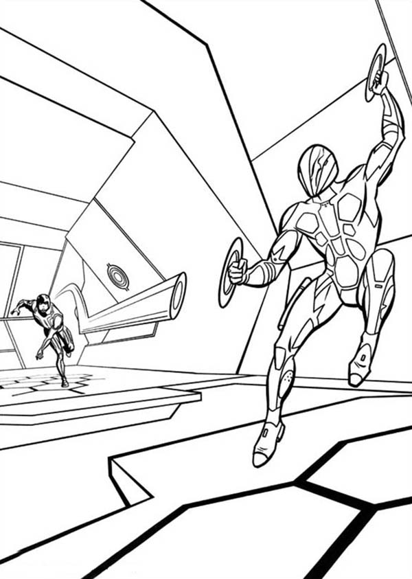 Tron, Tron Legacy Dodging Light Blade Coloring Pages: Tron Legacy Dodging Light Blade Coloring Pages