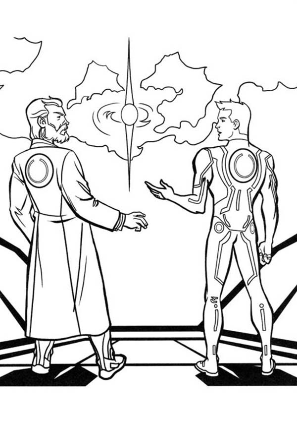 Tron, Tron Legacy Kevin And Sam Flynn Coloring Pages: Tron Legacy Kevin and Sam Flynn Coloring Pages