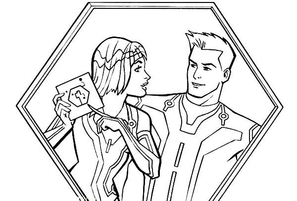 Tron, : Tron Legacy Quorra Show Sam Flynn Disk Coloring Pages