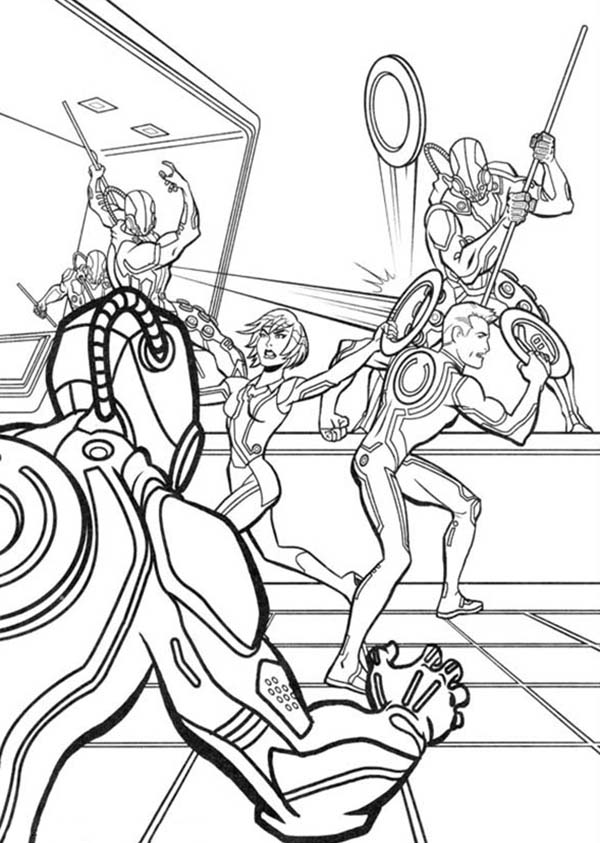 Tron, Tron Legacy Quorra And Sam Attack By CLU Army Coloring Pages: Tron Legacy Quorra and Sam Attack by CLU Army Coloring Pages