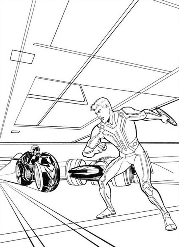 Tron, : Tron Sam Flynn with Round Blade Coloring Pages