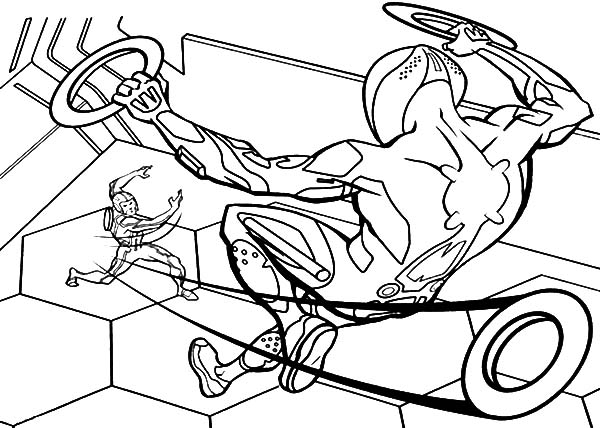 Tron, Tron Sam Throw His Blade Coloring Pages: Tron Sam Throw His Blade Coloring Pages