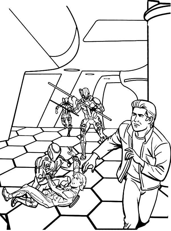 Tron, : Tron Sam Try to Save His Father Coloring Pages