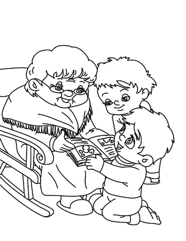 Grandmother, : Two Boy Ask Grandmother to Tell Them Story Coloring Pages