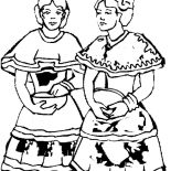 Mexican Dress, Two Mexican Dancer In Mexican Dress Coloring Pages: Two Mexican Dancer in Mexican Dress Coloring Pages