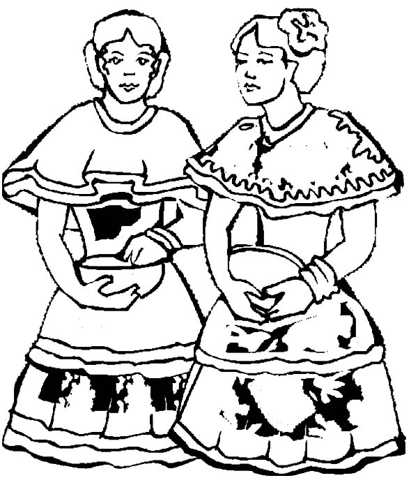 Mexican Dress, : Two Mexican Dancer in Mexican Dress Coloring Pages