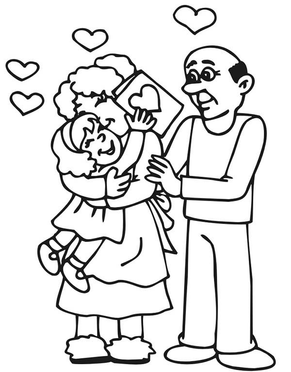Grandfather, : Valentine for Grandfather and Grandmother Coloring Pages