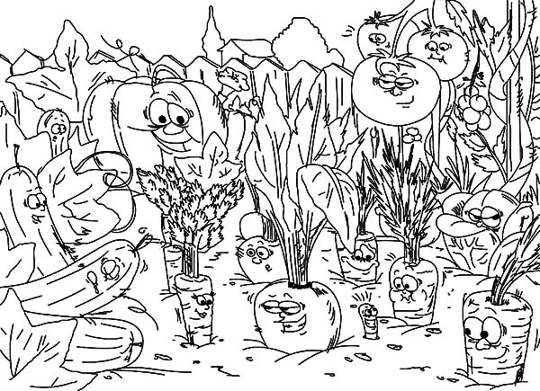 Garden, : Vegetables Garden Coloring Pages