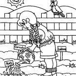 Garden, Watering Vegetables Garden Coloring Pages: Watering Vegetables Garden Coloring Pages