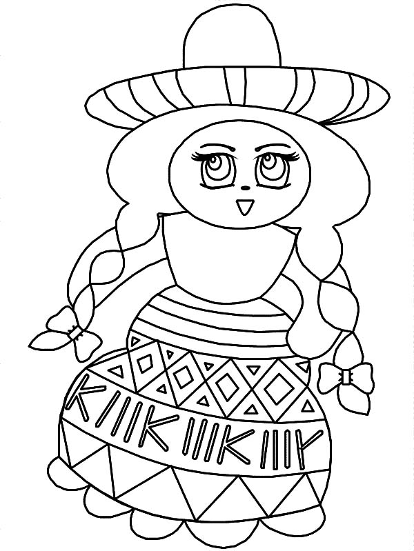 Mexican Dress, : Wearing Mexican Dress at School Coloring Pages
