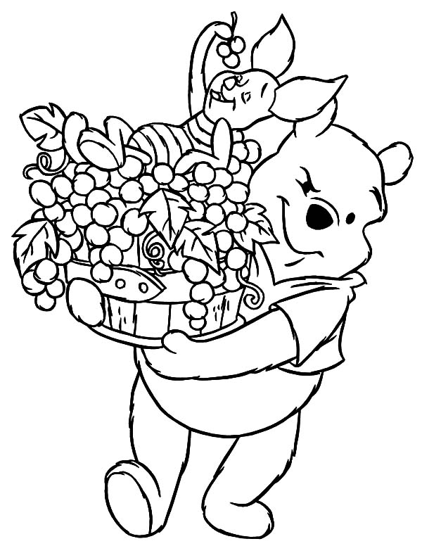 Grapes, : Winnie the Pooh Carrying Grapes and Piglet Coloring Pages