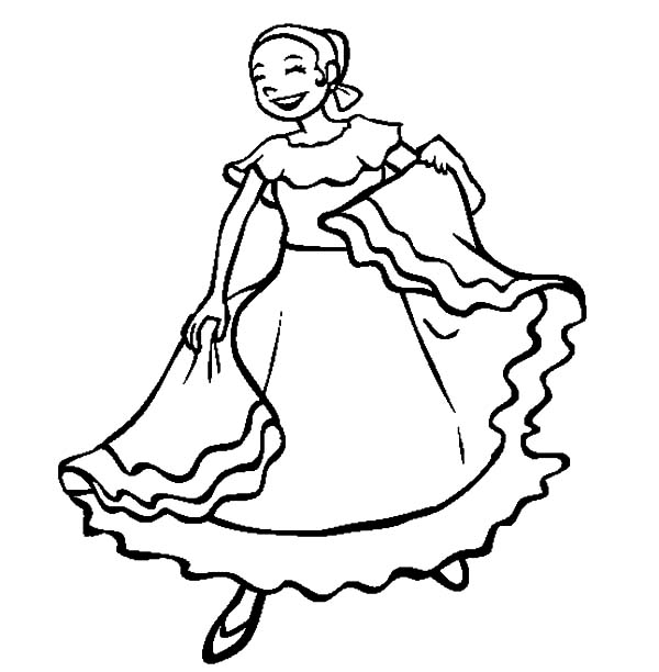 Mexican Dress, : Woman in Mexican Dress is Dancing Coloring Pages