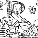 Garden, Little Girl Watering Flower On Garden Coloring Page 600×461: little-girl-watering-flower-on-garden-coloring-page-600x461