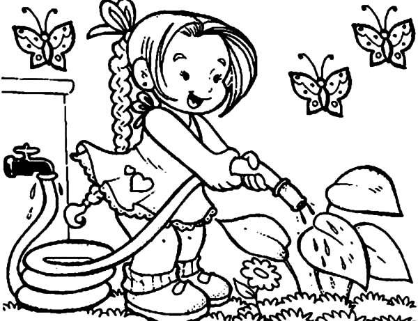 Garden, : little-girl-watering-flower-on-garden-coloring-page-600x461