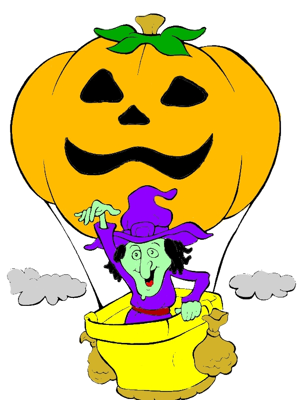 A Witch And Flying Pumpkin Balloon On Halloween Day Coloring Page by years old Kevin A  Sanjuan