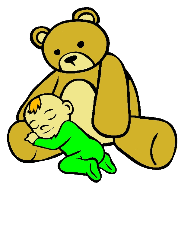 Baby Asleep In The Lap Of Teddy Bear Coloring Page by years old Lester S  Deberry