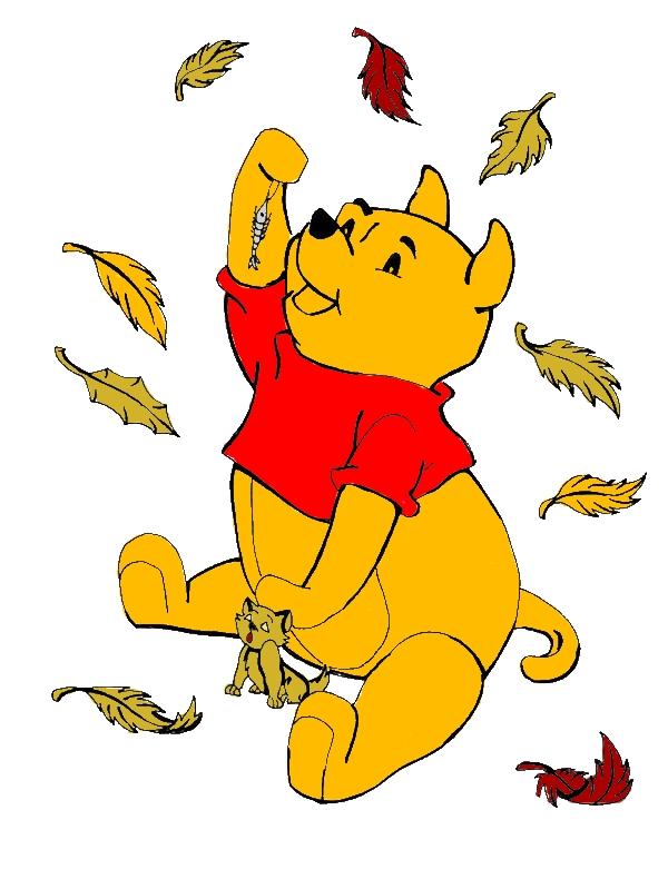 Disney Winnie The Pooh Catching In Autumn Leaves Coloring Page by years old Kevin L  Arnold