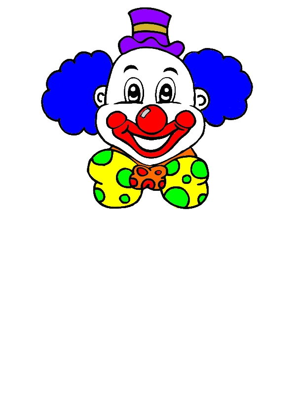 Laughing Clown Head Coloring Page by years old David J  Chapman
