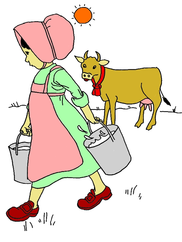 Little Girl Done Milking Cow Coloring Pages by years old Zelda D  Glover