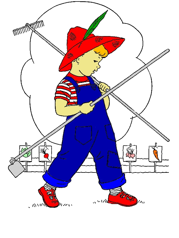 Little Kid Is Going To Garden Coloring Pages by years old Debra A  Conley