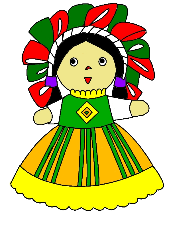 Mexican Dress Doll Coloring Pages by years old Olive C  Lin