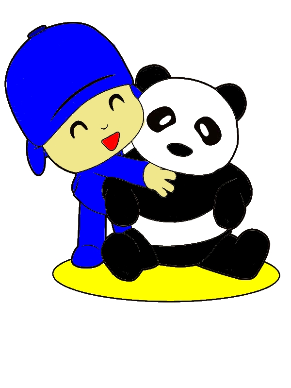 Pocoyo Hug A Panda Coloring Page by years old Jeanne B  Starkey