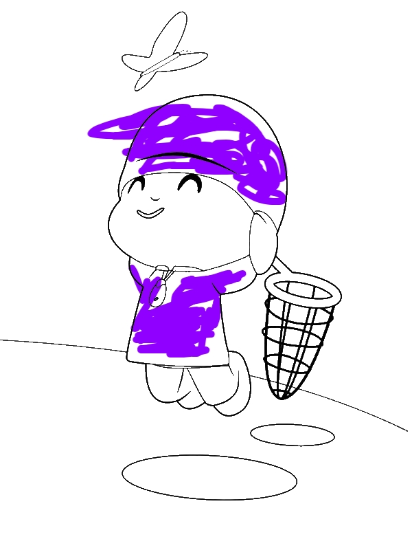 Pocoyo Jump To Catch Butterfly Coloring Page by years old Lynn