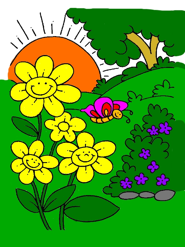 Spring Flower Is Smiling When The Sun Come Up Coloring Page by years old Jenna C  Stephens
