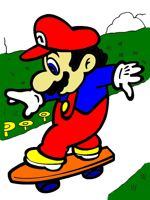 Super Mario Brothers Play Skate Board Coloring Page by years old Amos L  Bonnell