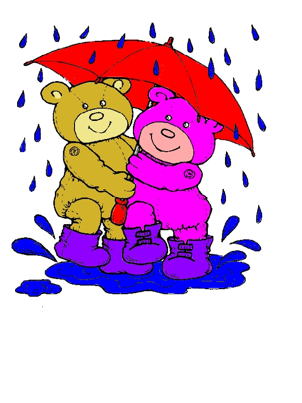 Teddy Bear Under Umbrella Coloring Page by years old Patty J  Kerns