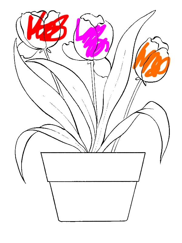 Tulips For Flower Bouquet Coloring Page by years old Stein