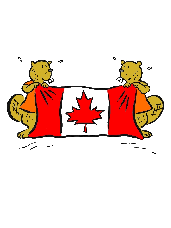 Two Cute Beavers With Canada Flag For Canada Day 2015 Coloring Pages by years old Mary J  Fuhrman