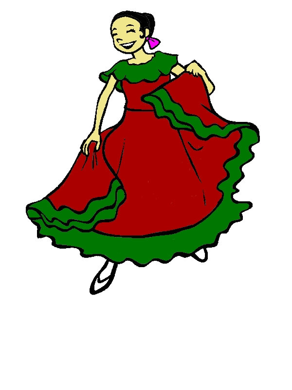 Woman In Mexican Dress Is Dancing Coloring Pages by years old Kristina R  McBee